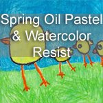Spring Oil Pastel and Watercolor Resist