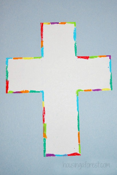 Colorful Light Ray Cross ~ Easter Cross Oil Pastel Kids Art