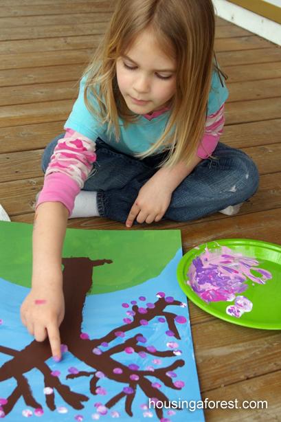 Spring Art for Kids ~ Fingerprint Cherry Tree