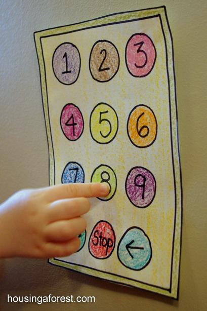 Pretend Elevator ~ simple imaginative play for kids