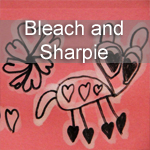 Bleach and Sharpie Valentines
