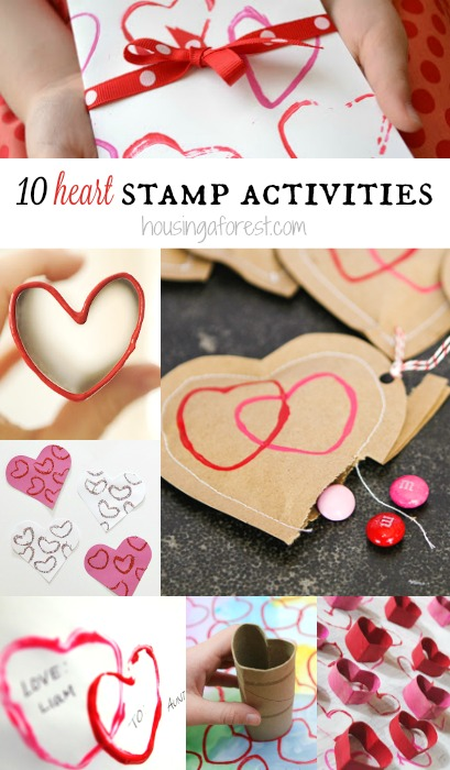 10 Heart Stamp Activities ~ Valentines Day Crafts for kids