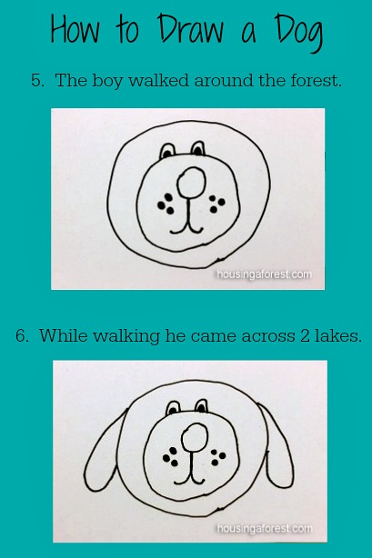 How to Draw a Dog ~ With a simple story to guide kids.  Six easy steps