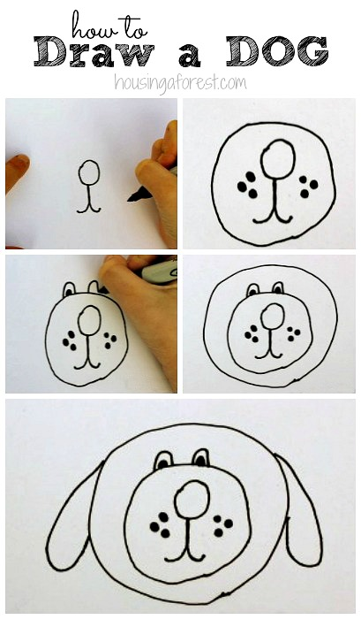 How to Draw a Dog ~ With a simple story to guide kids.  Six easy steps to follow.
