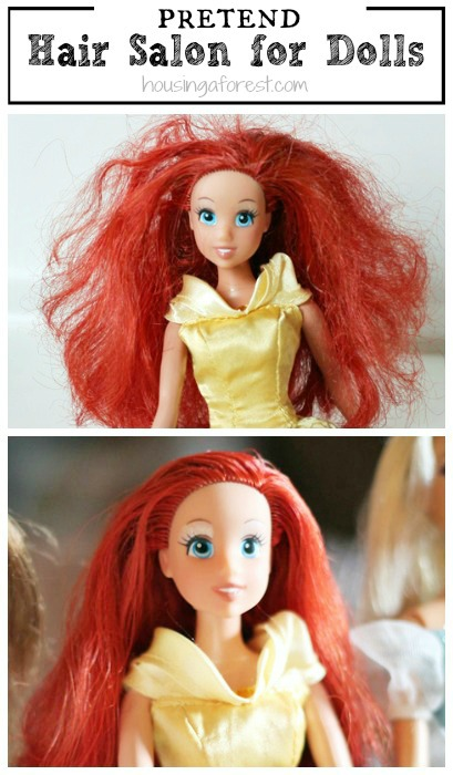 How to Fix Barbie Hair ~ Set up a doll hair salon.  My girls love this simple trick , and it totally works!
