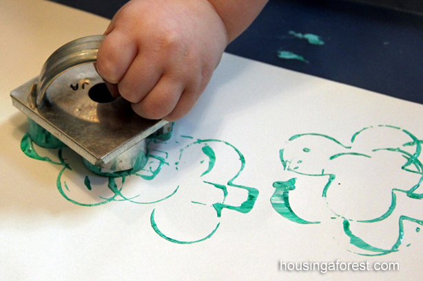 Shamrock Cookie Cutter Stamping ~ St Patricks Day Activity