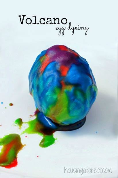 Mad Scientist Egg Dyeing ~ Volcano easter egg experiment