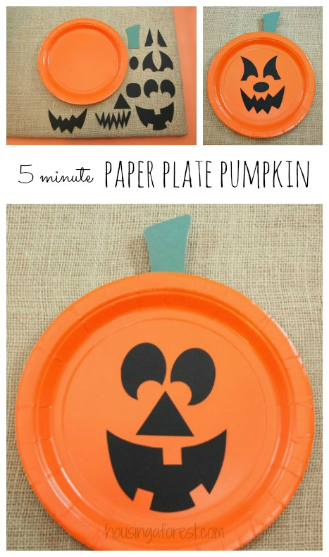 Paper Plate Jackolantern ~ The EASIEST Halloween pumpkin craft for kids  sc 1 st  Housing a Forest : paper plate pumpkins - Pezcame.Com