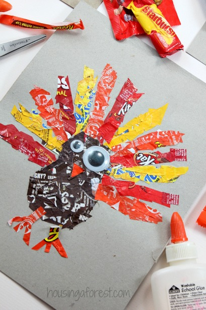 Candy Wrapper Turkeys Housing A Forest