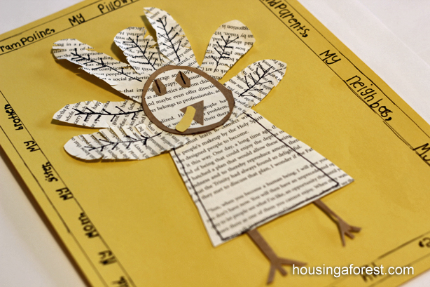Book Page Turkey ~ Thanksgiving Craft for kids
