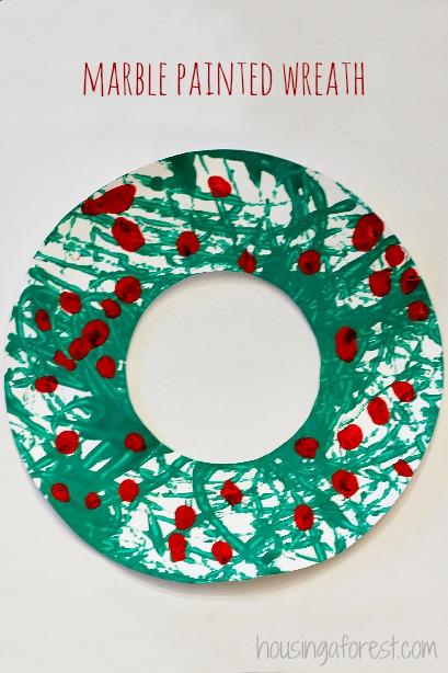 Marble Painted Wreath ~ Simple Kids Christmas Craft