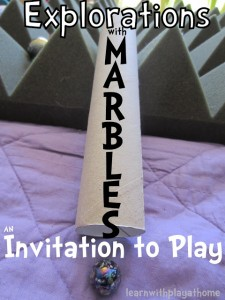 Exploration with marbles ~ Invitation to play