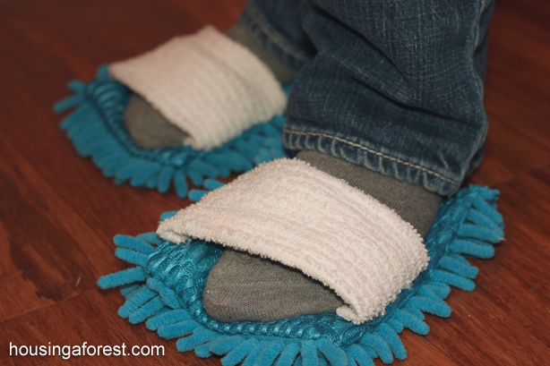 DIY Microfiber Cleaning Slippers ~ get the kids excited about cleaning!