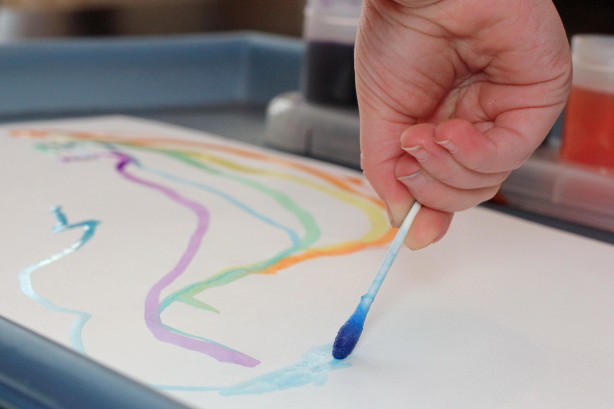 Painting Q-Tip Rainbows