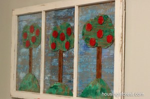 Recycled Cardboard Apple Trees