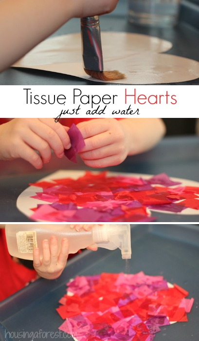 Tissue Paper Hearts ~Valentines Art for kids