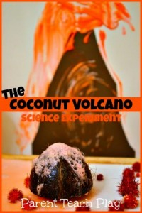 coconut volcano experiment for kids