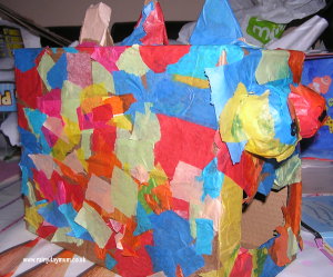 colourful cardboard box dinosaur