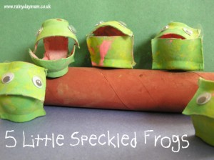 five little speckled frogs made from recycled materials