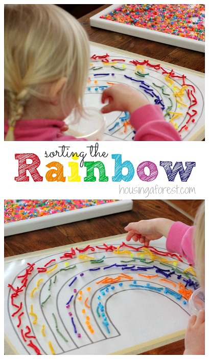 Sorting the Rainbow ~ Fun spring activities for preschoolers. Learn about colors and textures.