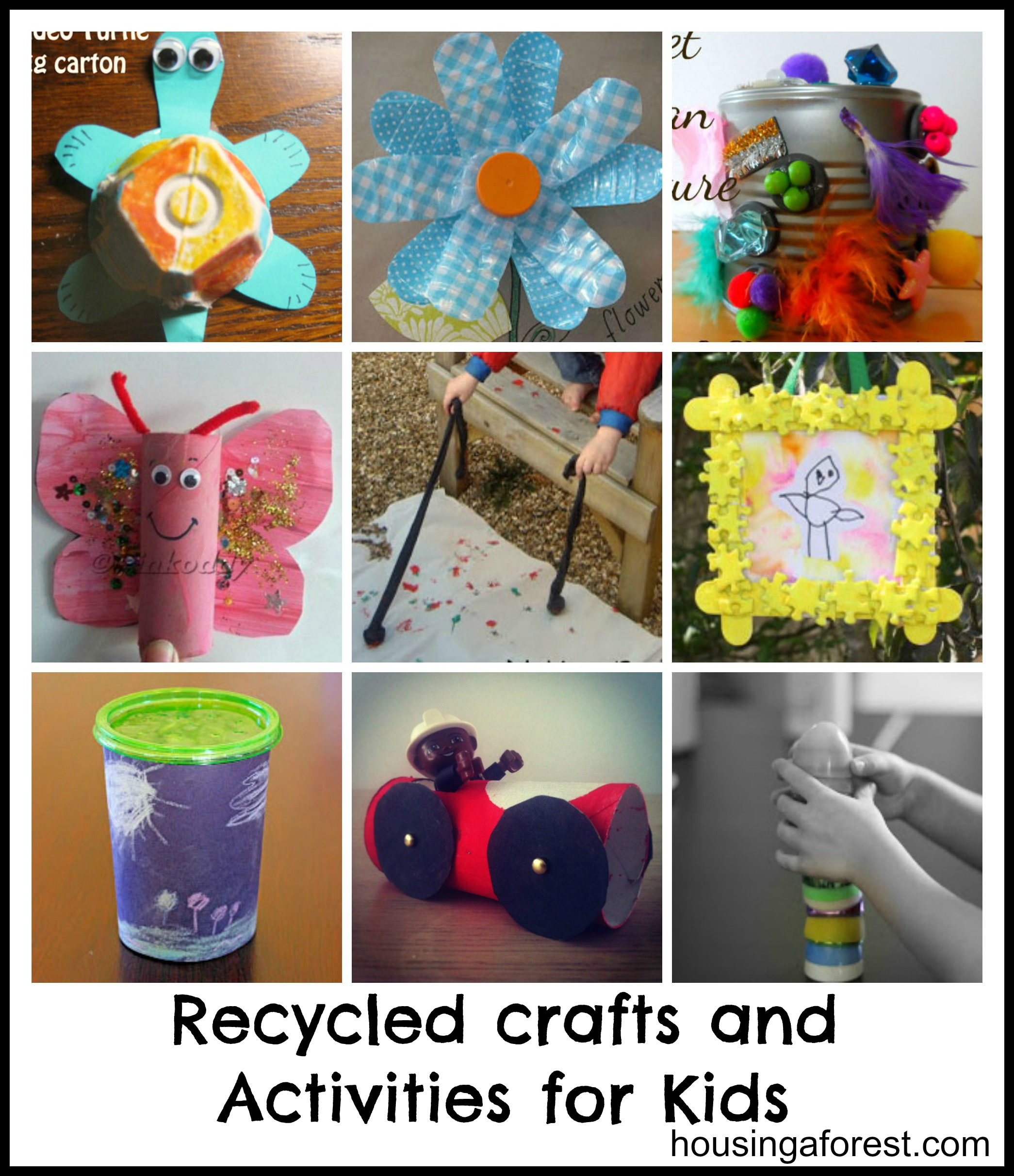 recycled crafts and activities for kids housing a forest