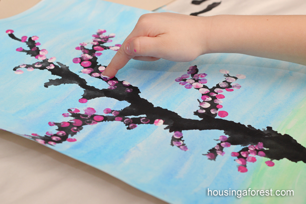 Spring Cherry Blossom Tree ~ beautiful kids art