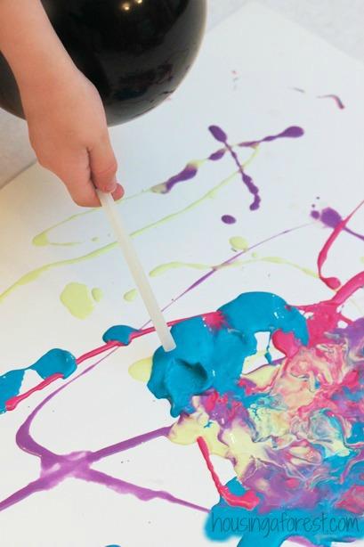 Balloon blow Painting ~ Process Art