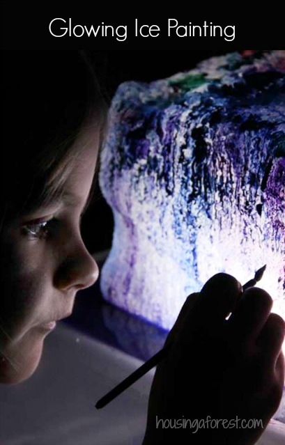 Glowing Ice Painting ~ Frozen painting your kids create in the dark