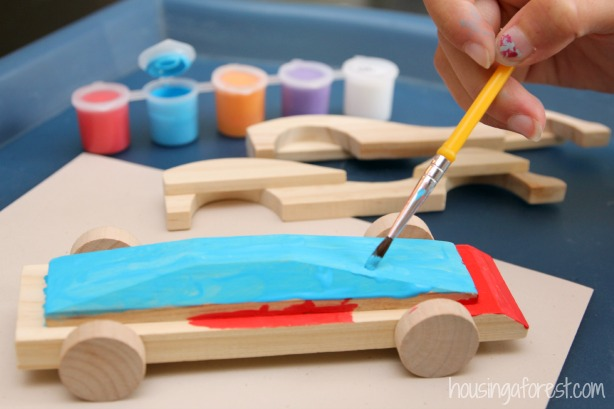 Toys For Painting : Diy balloon powered wooden car housing a forest