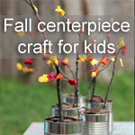 Fall Centerpiece Craft for Kids ~ Simple craft and sensory experience rolled into one. This is not your traditional tissue paper craft. Check out what was used to create the leaves! My kids LOVED this!