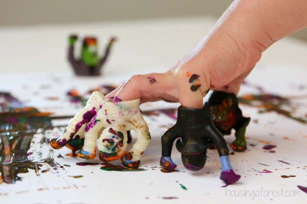 Painting with Monster Hands ~ Halloween Painting activity