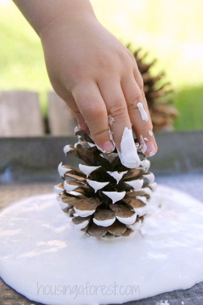 Pine Cone Spider Webs ~ Simple Halloween Craft