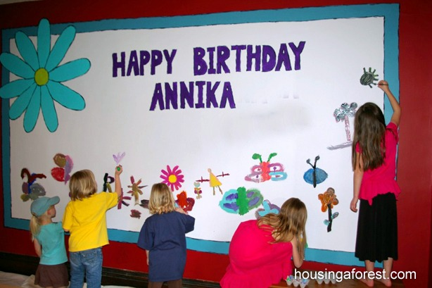 Simple Birthday Decoration On Wall : Art birthday party housing a forest