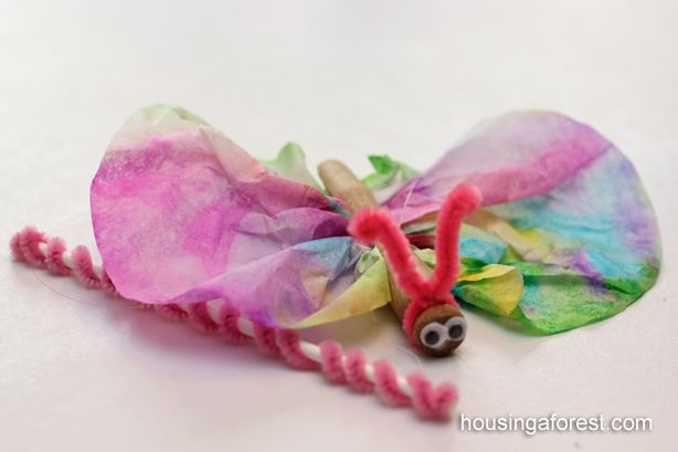 Spring Craft for Kids ~ Tie Dye Butterfly on a Stick