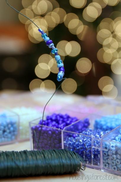 Beaded Twig Ornaments ~ simple Kid-made Christmas Craft