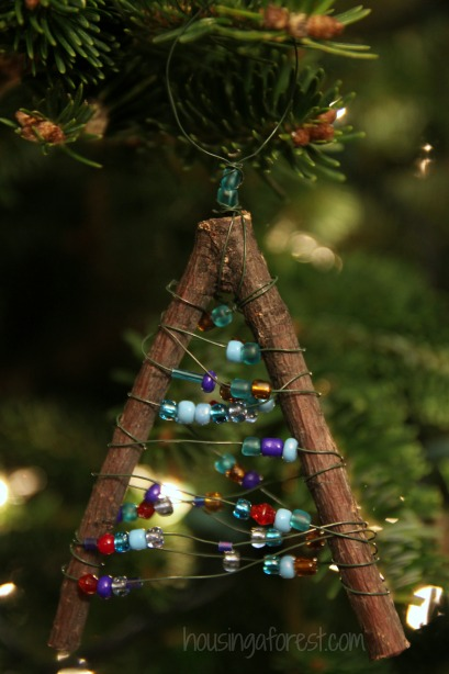 Beaded Twig Christmas Ornaments Housing A Forest