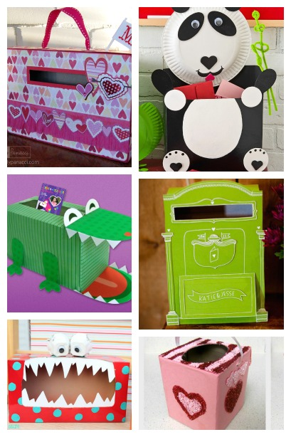 Valentine Card Holders created from a Cereal or Tissue Box