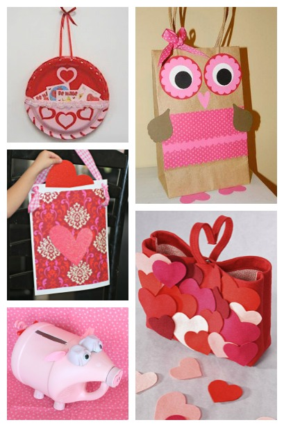 Valentine Card Holders created from Bags, Plates and Jugs