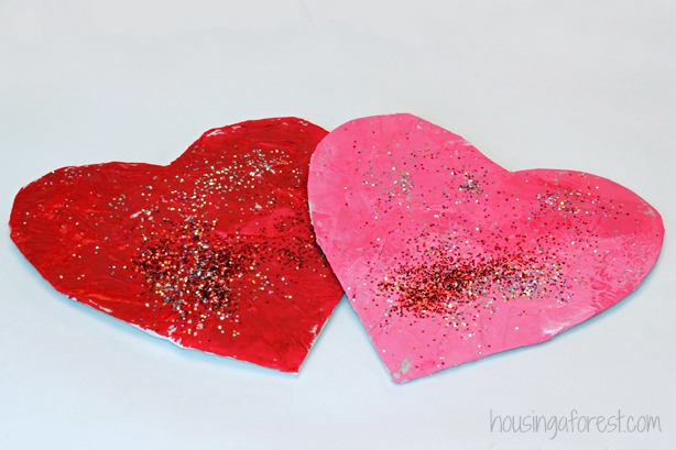 Glitter Tissue Paper Hearts ~ simple Valentines craft
