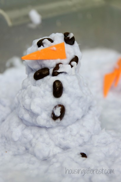 Winter Sensory Bin ~ Create an indoor snowman without any snow.