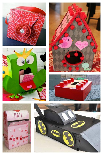 Valentine Card Holders created from a cardboard box