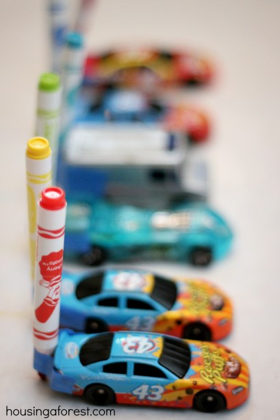 Drawing with Cars ~ Marker Cars is a fun activity that merges art and play