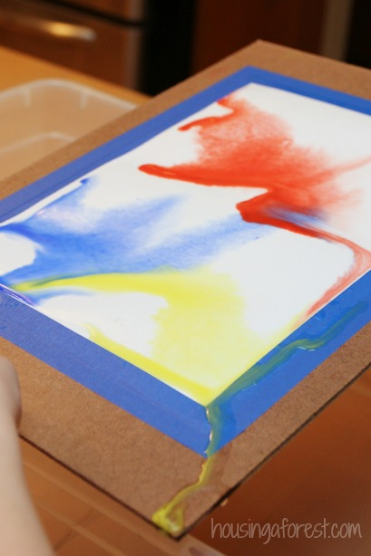 Pour Painting Watercolor ~ process art for kids