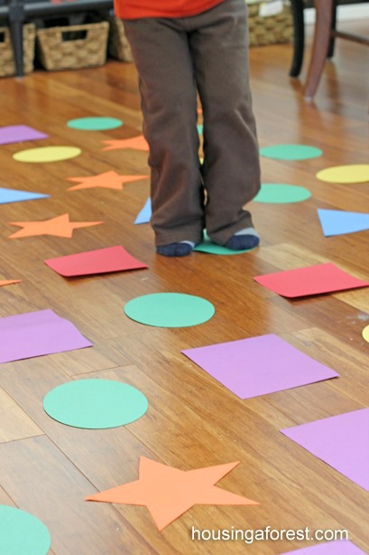 Indoor Shape Hopscotch ~ Gross motor game