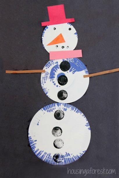 Simple Preschool Spin Art Snowman Craft