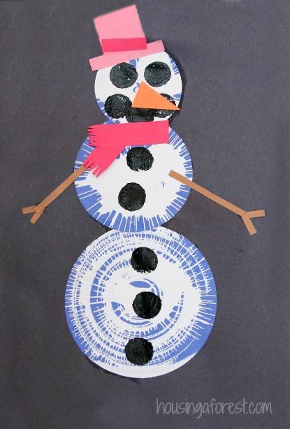 Spin Art Snowmen Preschool Snowman Craft