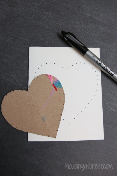 Faux String Art Heart ~ Valentines Card