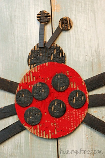 Simple Cardboard Ladybug Craft from housing a forest