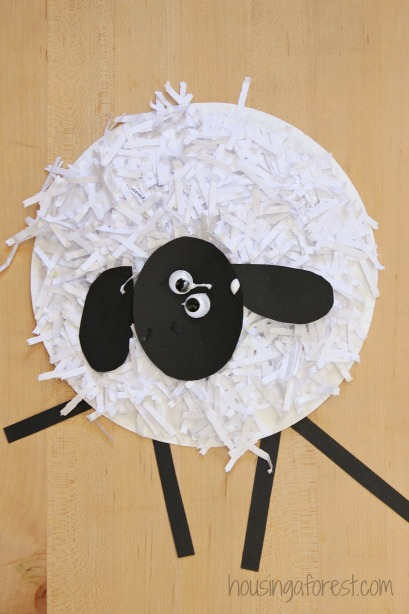 cardboard sheep template - paper plate sheep craft housing a forest