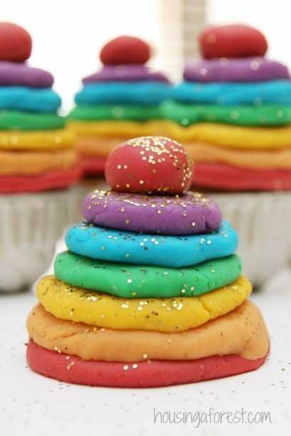 Glitter Rainbow Play Dough ~ I love this simple reduced salt recipe.